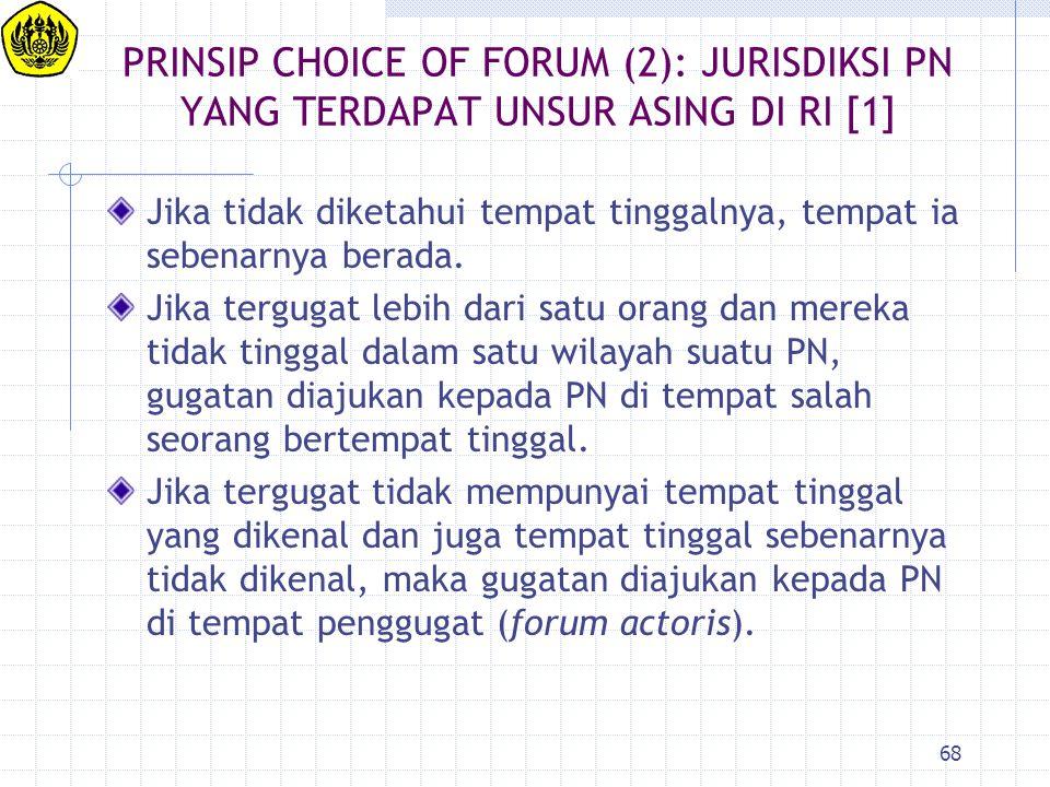 PRINSIP CHOICE OF FORUM (2): JURISDIKSI PN YANG TERDAPAT UNSUR ASING DI RI [1]